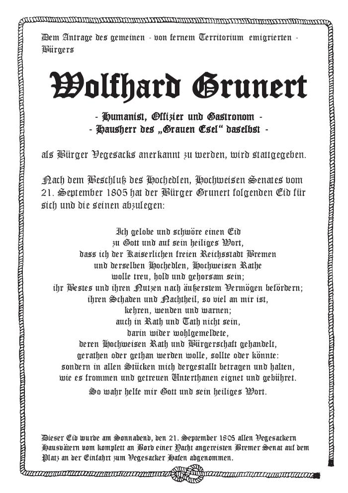Vegesacker Bürgereid von 1805 - vegesack.de